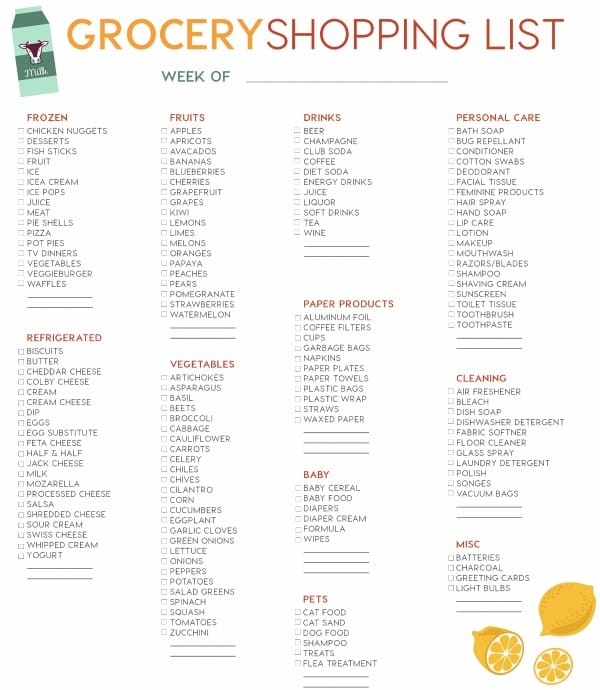 FREE Printable Grocery List Page 2