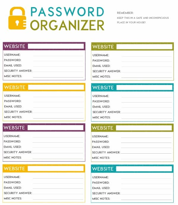 FREE Printable Password Organizer (A.K.A. Printable Password Sheet)