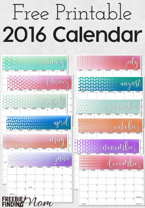 2016 Free Printable Calendar Download