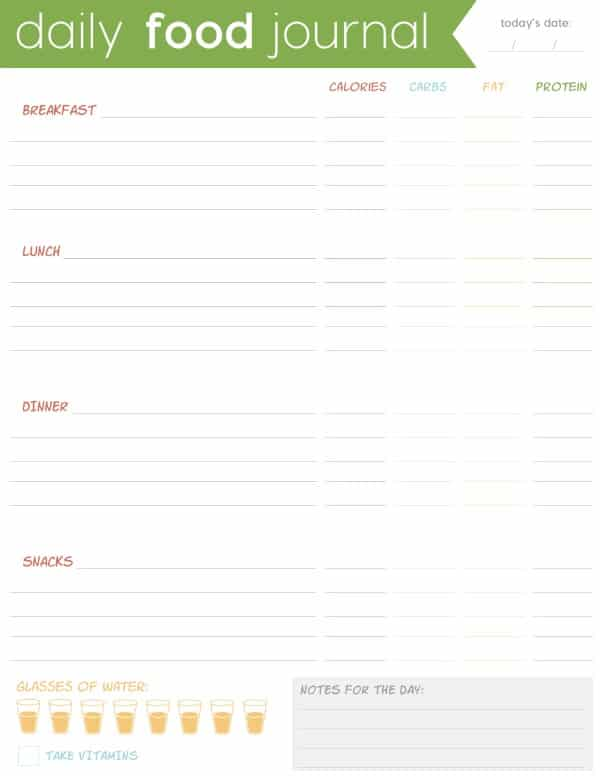 FREE Printable Food Journal Download