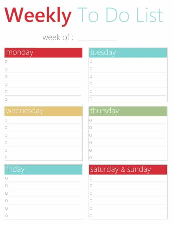 free printable weekly to do list download