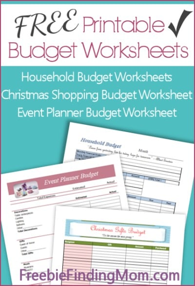 3 Free Printable Budget Worksheets
