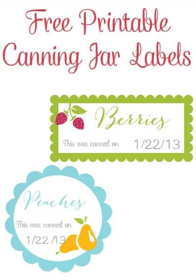 Free Printable Canning Jar Labels