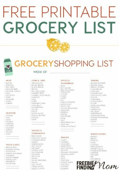 Free Printable Grocery List