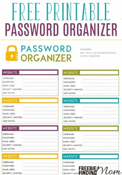 Free Printable Password Organizer
