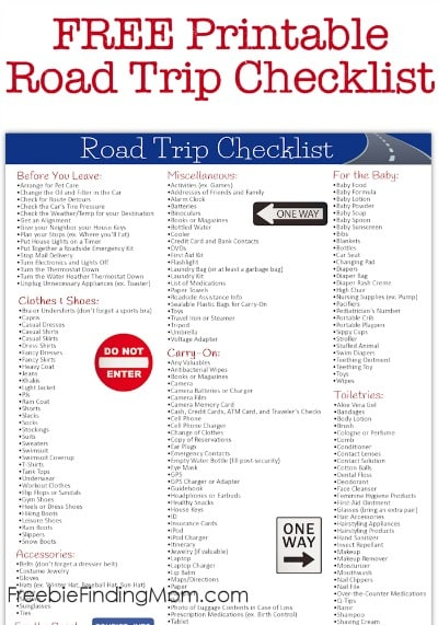 Free Printable Road Trip Checklist