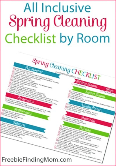 Free All Inclusive Spring Cleaning Checklist by Room