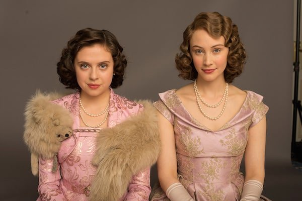 Sarah Gadon and Bel Powel as Princesses Elizabeth and Margaret in A Royal Night Out