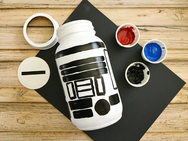 R2-D2 Mason Jar Piggy Bank - DIY Gift in a Jar for Kids Step 7
