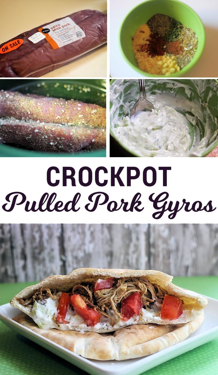 Crockpot Pulled Pork Gyros - Looking for something new to make for dinner tonight? This pulled pork crockpot recipe is an indulgent, unique twist on a classic favorite. With a Greek yogurt based Tzatziki sauce to top off your pulled pork gyros, this is the perfect way to spice up a weeknight!