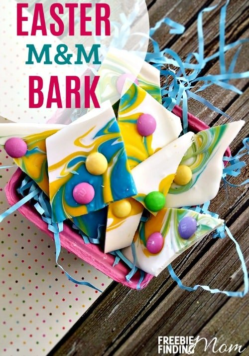 Need an easy Easter dessert idea? This delicious and festive M&M Easter bark takes mere minutes to whip up and is loaded with chocolately goodness that the entire family will love. This Easter candy recipe also makes a great DIY gift idea and is a perfect sweet treat to put into the kids' Easter baskets. You can customize this recipe to serve as other holiday dessert recipes (i.e. use red and green M&Ms for Christmas).