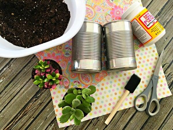 DIY Tin Can Planters Materials