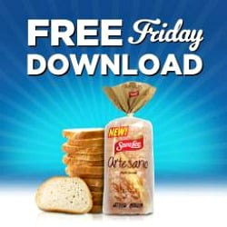 Kroger free Friday download banner to promote free Sara Lee Artesano Sandwich Bread