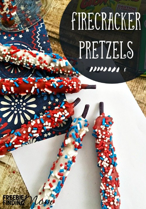 Need a delicious and easy Fourth of July dessert or snack idea? These firecracker pretzels make perfect patriotic foods for any party. Simply coat your chocolate covered pretzel rods in red, white and blue sprinkles and add a Twizzler to the top for the fuse, and you're done! You've got a sweet treat for your Memorial Day or Independence Day party. Consider placing them in a mason jar to serve as a pretty (and edible) centerpiece.
