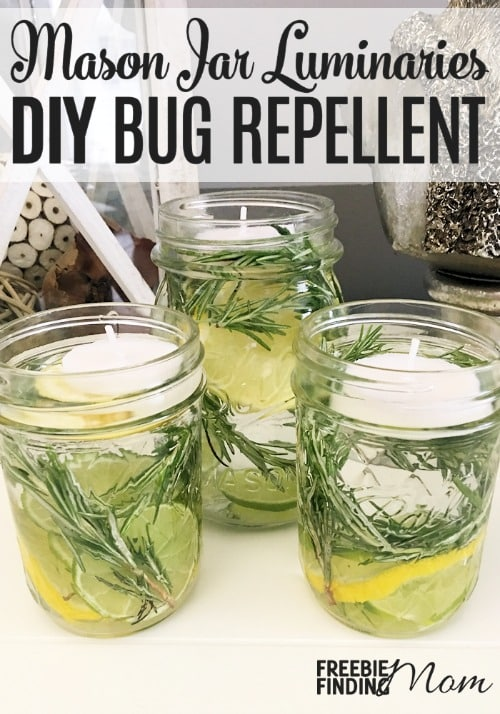 Tired of getting eaten alive when you step outside? Instead of lathering yourself with sticky bug spray or hovering near a citronella candle, take a few minutes to whip up this all natural homemade bug repellent. These mason jar luminaries are not only an effective way to repel mosquitos, but they are pretty too. They could easily serve as beautiful centerpieces for your barbecue or backyard party.
