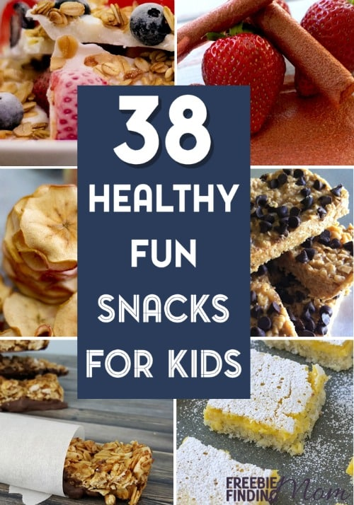 Need healthy snacks for kids that they'll actually eat? These 38 healthy fun snacks for kids are not only nutritious, but they are delicious too. Here you'll find cinnamon bananas, frozen yogurt bark, strawberry fruit roll-ups, rainbow veggie kabobs, apple nachos, mini fruit pizzas, and more healthy recipes.