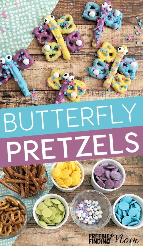 Do you love snacks that are both sweet and salty? Then you have to try this pretzel snack recipe for butterfly and dragonfly pretzels. Not only are they delicious, but they are adorable too. This easy snack recipe would be great for a kid's birthday party, a baby shower, and well, just about any occasion.