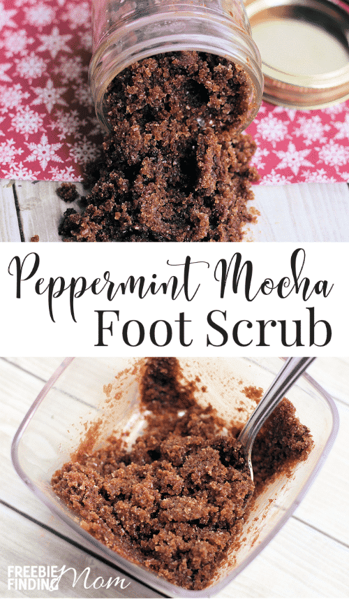 Pamper your feet and get into the holiday spirit at the same time with this Peppermint Mocha Foot Scrub. This easy homemade foot scrub not only will get rid of dead, dry skin and rejuvenate your feet, but it has a soothing and delicious peppermint mocha scent as well. It takes just four ingredients to whip up this homemade beauty product for either you or as a great DIY gift for someone else.