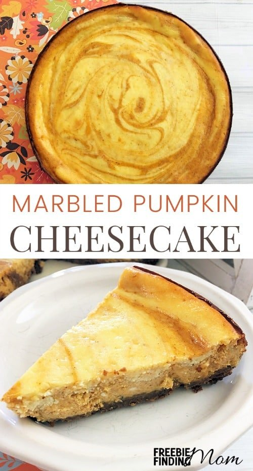 How does pumpkin pie meets velvety smooth cheesecake sound? That's the delicious combination you will enjoy when you make this Marbled Pumpkin Cheesecake. This easy pumpkin cheesecake recipe starts with a crushed gingersnap cookies and pecan crust then is layered with a pumpkin cream cheese topping to create a decadent dessert that is perfect for Thanksgiving.