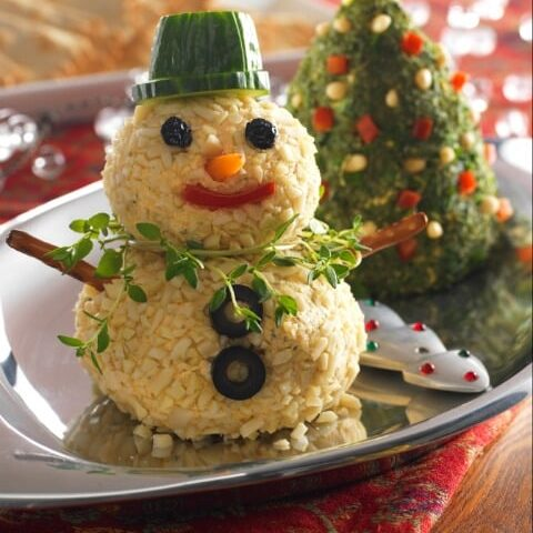 Christmas Tree and Snowman Cheese Ball Recipes