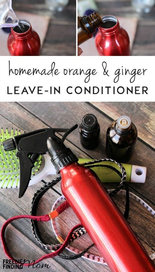 Need an all-natural way to re-freshen your hair between shampoos? This Homemade Leave-In Hair Conditioner contains a powerful combination of coconut oil and essential oils to moisturize, soften and detangle your hair, but without weighing your hair down. It only takes minutes to whip up this Orange & Ginger Leave-In Hair Conditioner and costs much less than those store-bought products that are laden with chemicals.