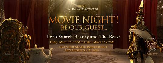 Beauty and the Beast movie viewing party invitation