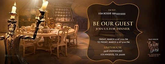 Beauty and the Beast dinner party invitation