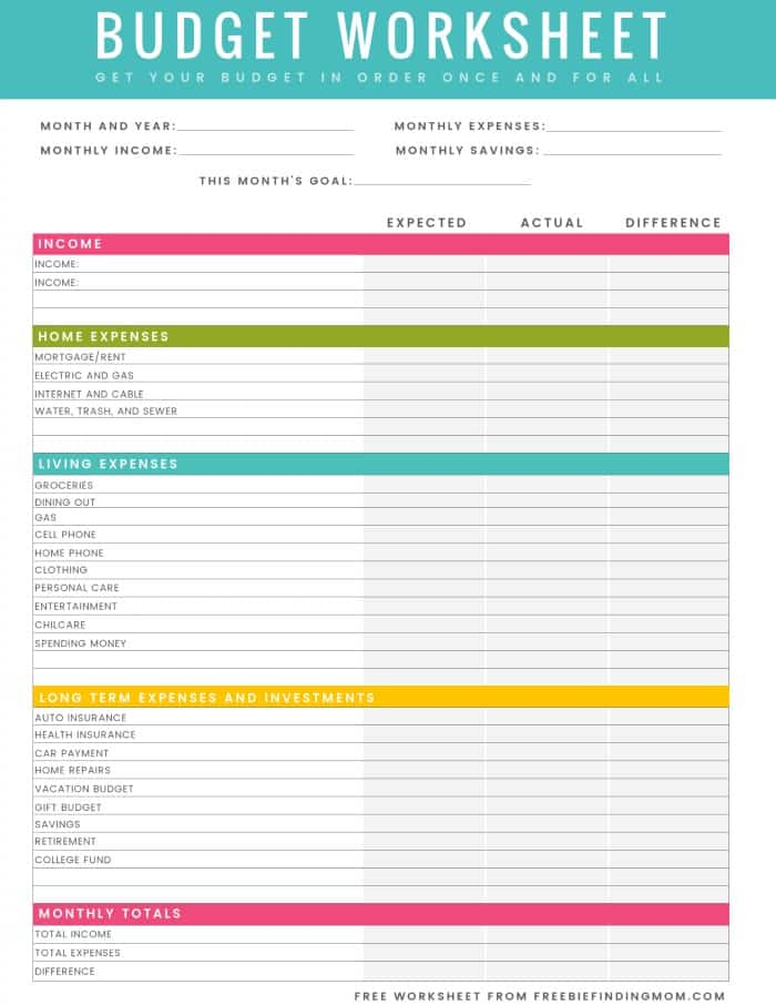 free printable budget worksheet