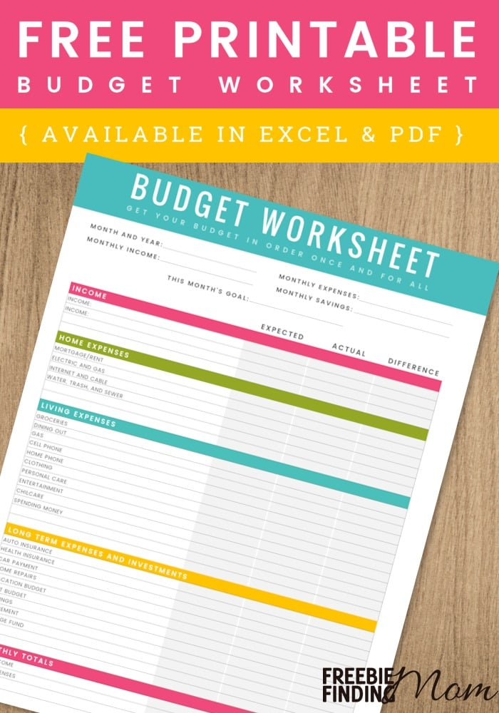Free Printable Household Budget Worksheet