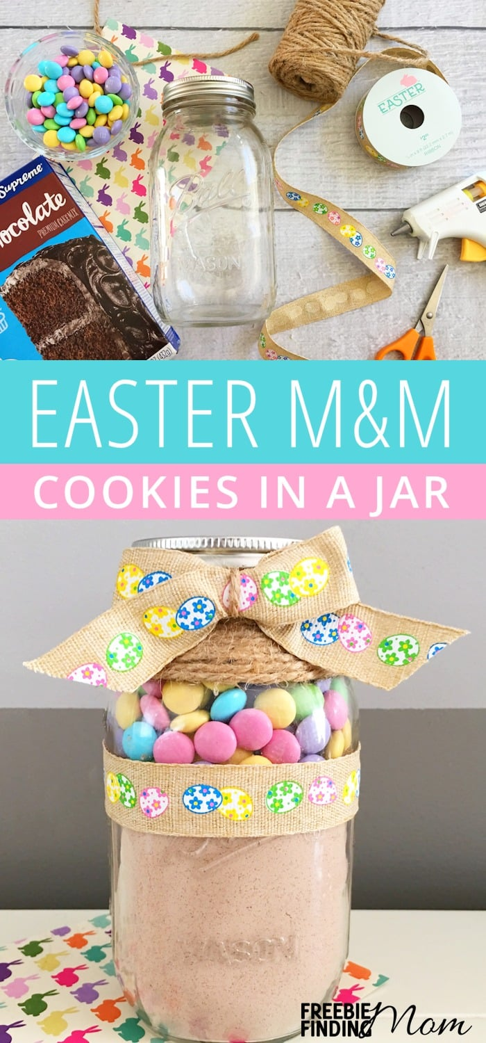 Need an easy Easter cookies recipe? These delicious Homemade Easter M&M Cookies in a Jar are not only a fun and festive way to celebrate the holiday, but homemade cookies in a jar also make inexpensive and thoughtful DIY gifts for friends, family, teachers and more.