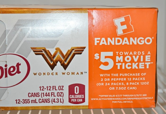 Fandango $5 coupon on Wonder Woman Dr. Pepper cans