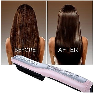Hair before and after using KINGDOMCARES Hair Straightener Brush