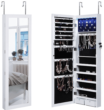 Lockable Wall Mounted Jewelry Cabinet with Mirror and LED Light