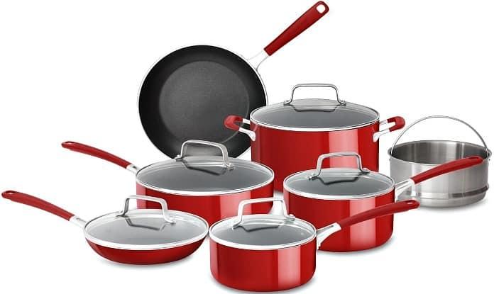 12-Piece KitchenAid Aluminum Nonstick Cookware Set