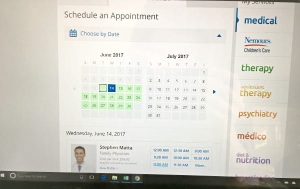 Select a date for your Amwell appointment