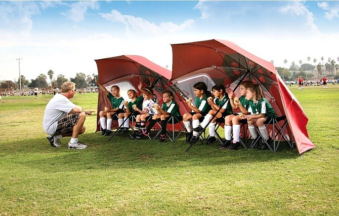 8-Foot Sport-Brella Portable All-Weather and Sun Umbrella in use