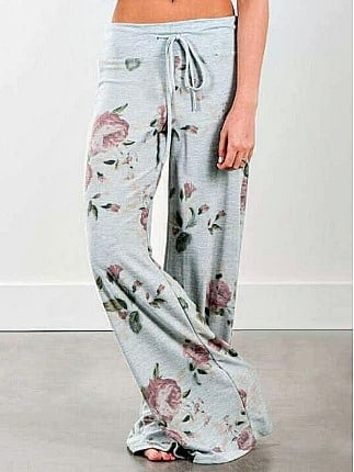 Floral Print Wide Leg Pants from gamiss.com
