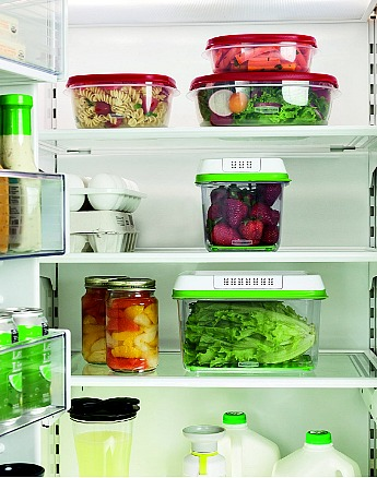 3-Piece Rubbermaid FreshWorks Food Storage Container Set in fridge