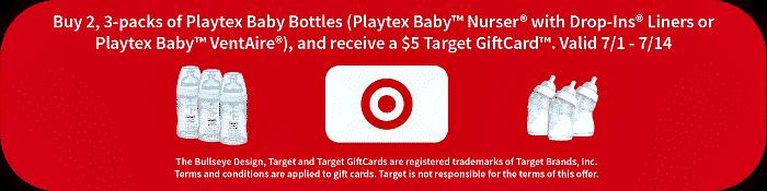 Buy 2 3-Packs of Playtex Baby Bottles, Get $5 Target GiftCard