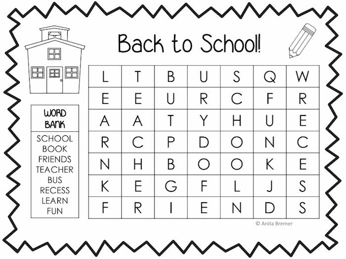 Slobbery image in back to school word search printable