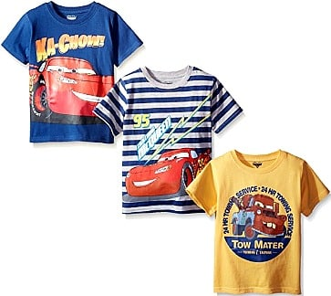 Disney Boys' 3 Pack Cars T-Shirts