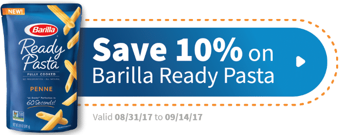 Save 10% on Barilla Ready Pasta