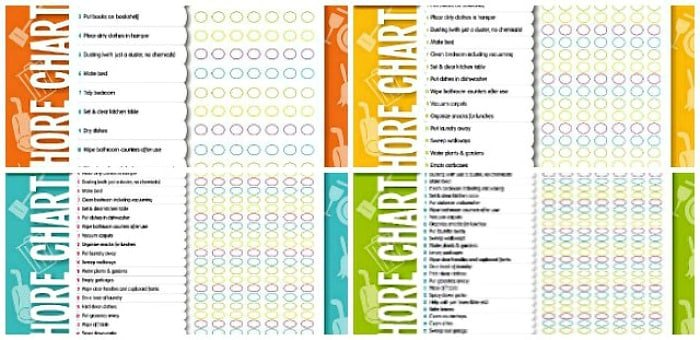 Free chore chart by age