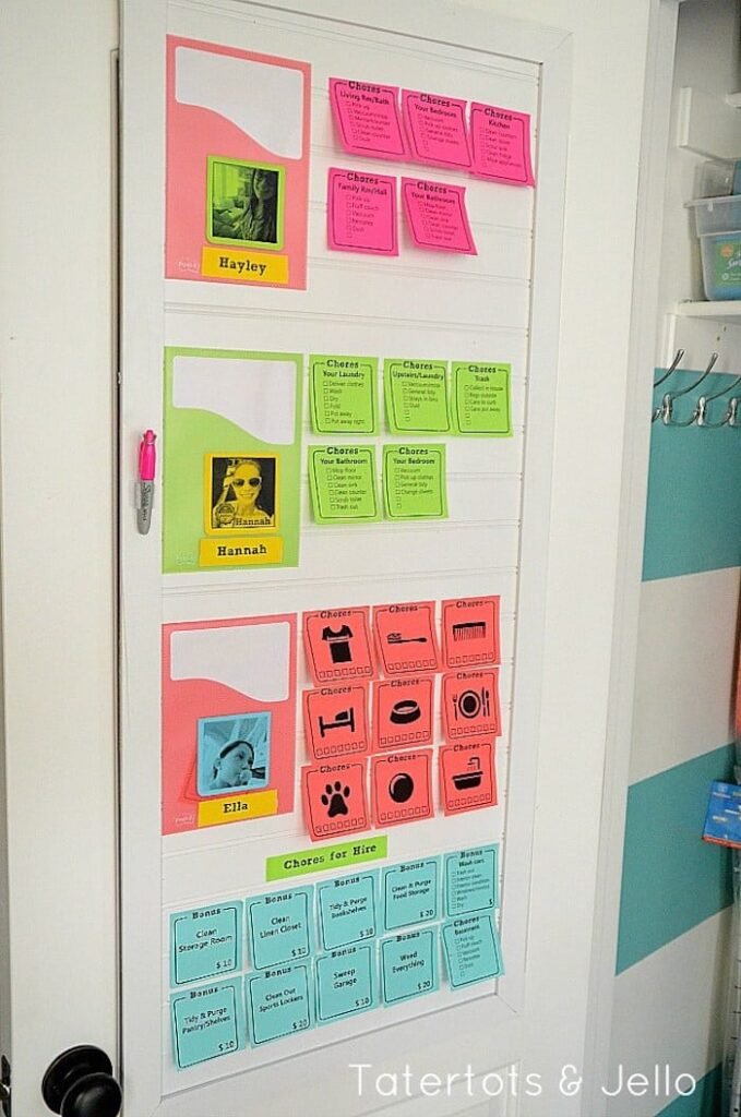 Post-it notes chores chart