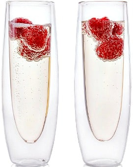 Set of 2 5-Ounce Eparé Stemless Champagne Glasses