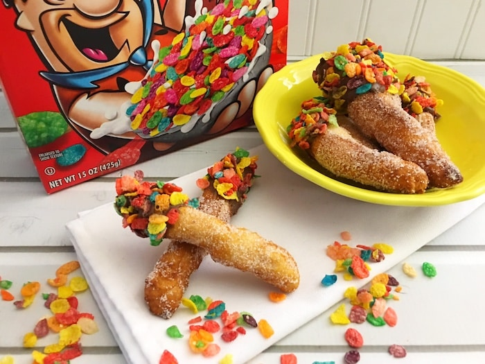 Enjoy Fruity Pebbles and chocolate donut fries