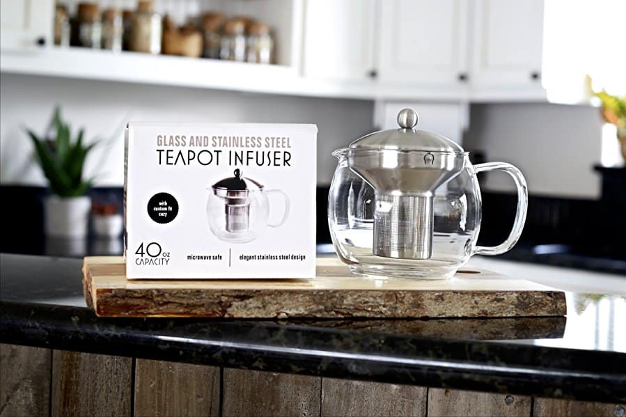 Tea Pot and Tea Strainer Set in kitchen