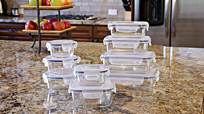 Glass Food Storage Container Set in use