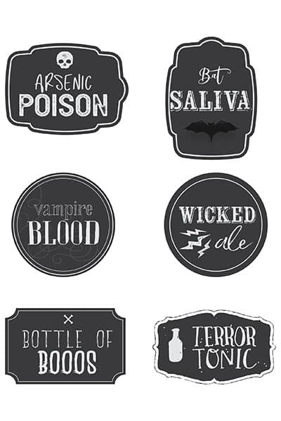 Halloween bottle labels printable free