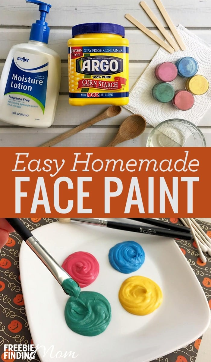 If you are looking for a homemade face paint recipe that's easy to make, you just found it. Simply combine cornstarch, facial lotion, vegetable oil and coloring then you've got a Halloween party face paint recipe that's perfect for trick or treating and all year around.